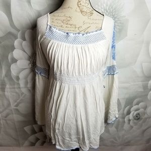 Free People Ruched Boho Top Blouse Embroidered